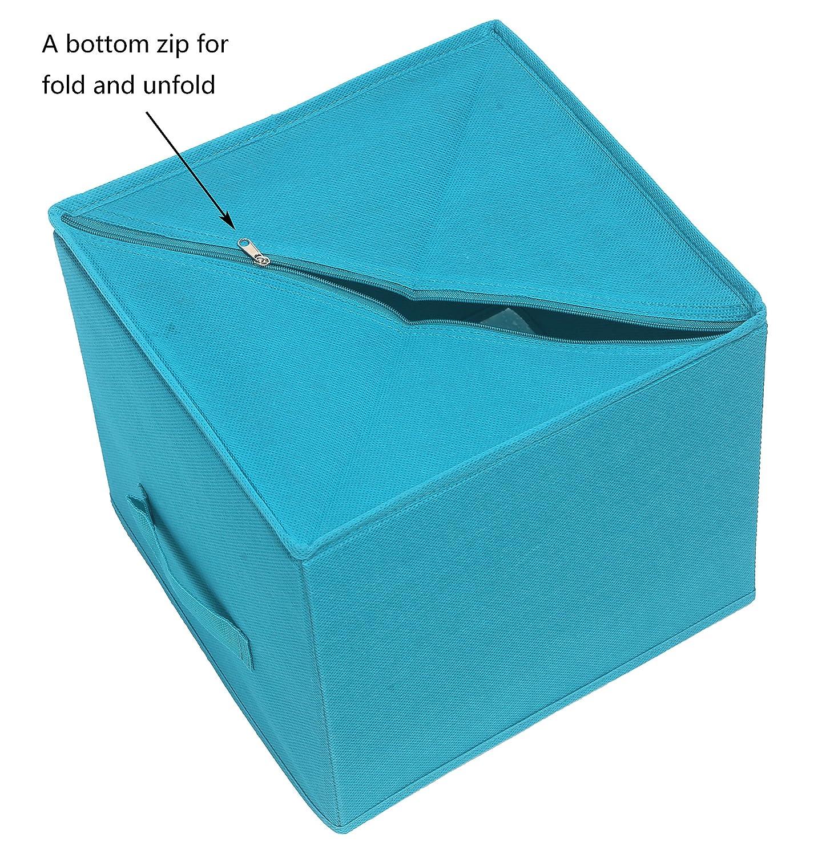 c459907a190a Amelitory Storage Bins Foldable Cube Organizer Fabric Drawer Set of 2 Lake  Blue