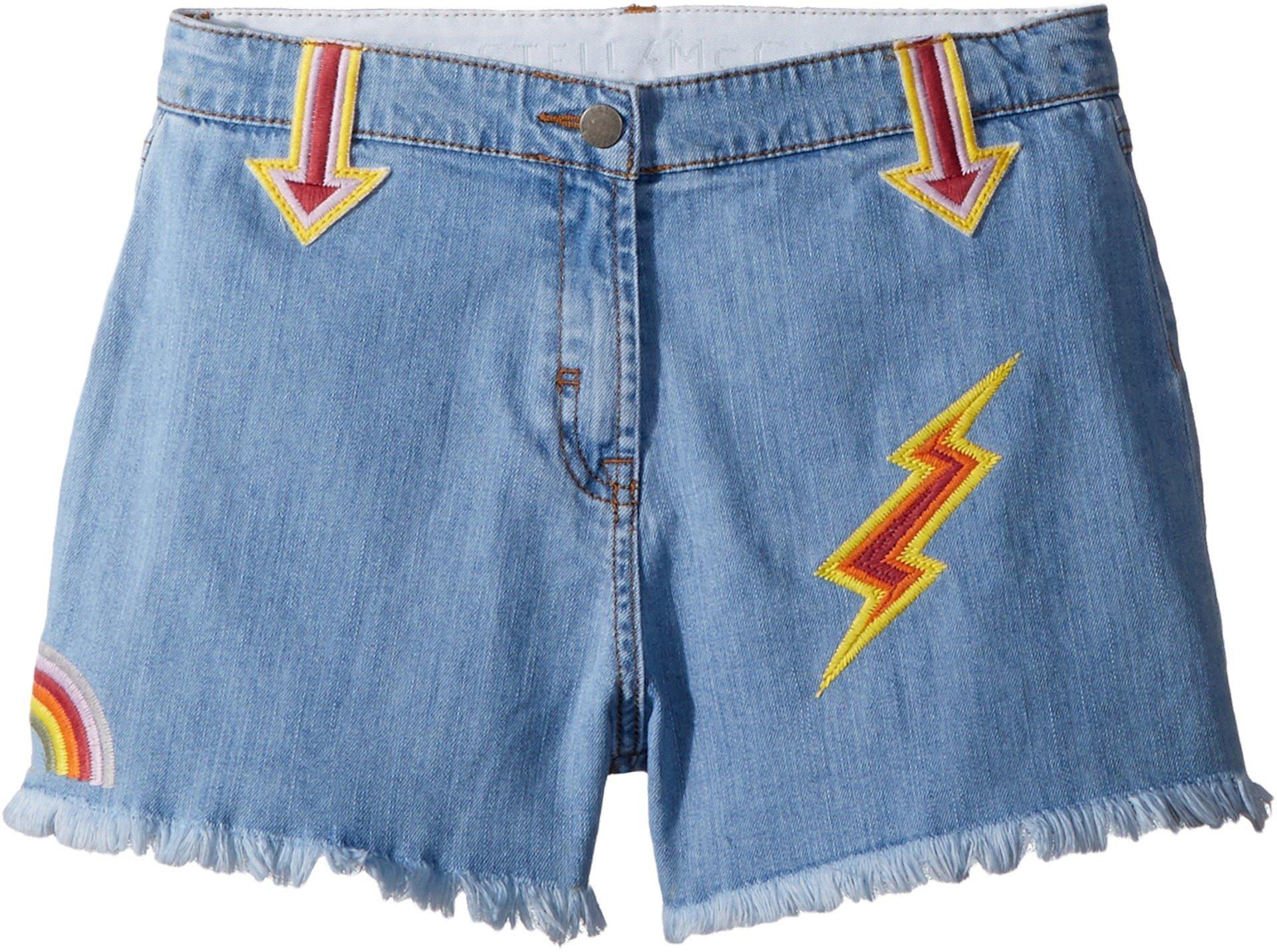 Stella McCartney Kids Baby Girl's Marlin Cut Off Denim Shorts w/Patches (Toddler/Little Kids/Big Kids) Blue 4T
