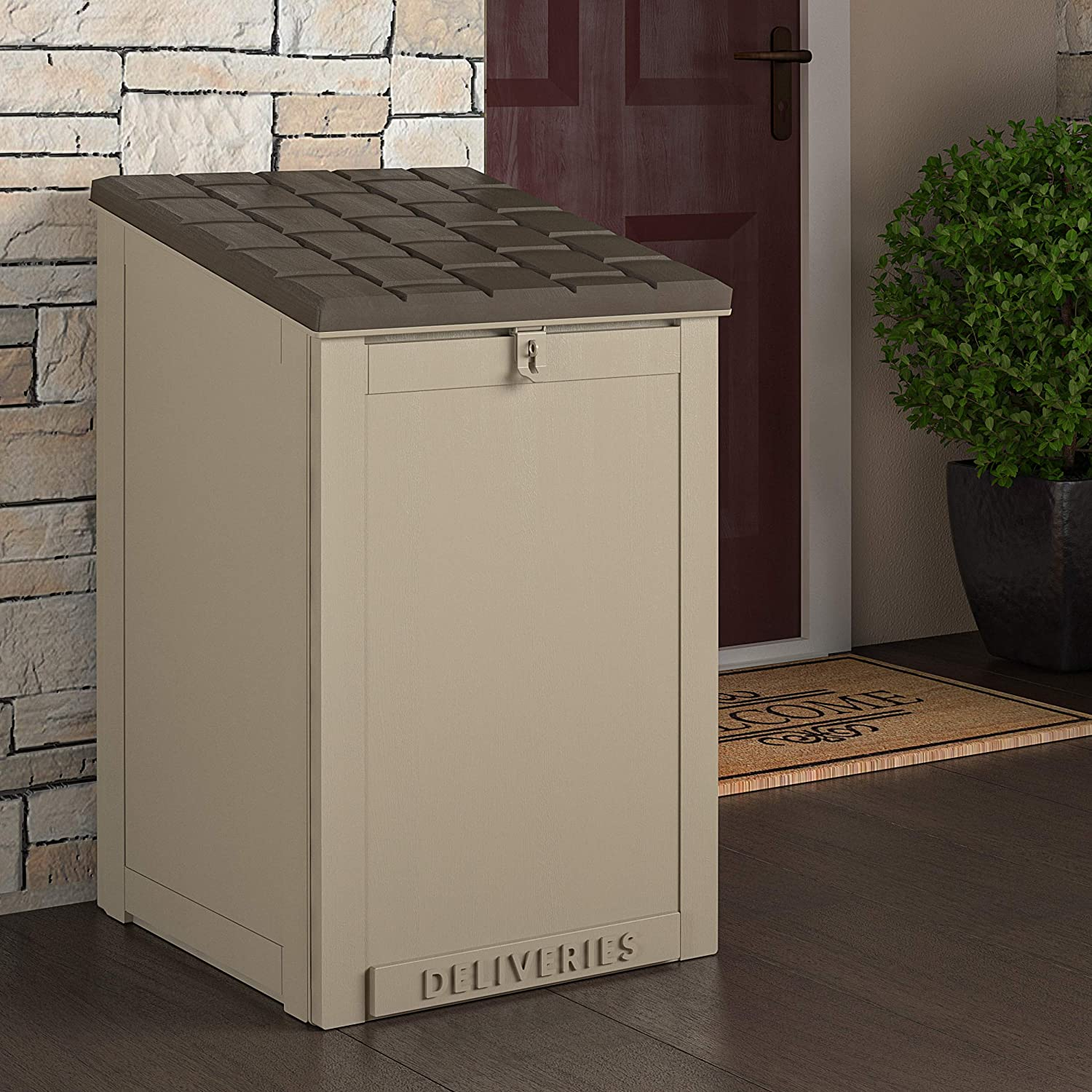 Cosco Outdoor Living 88333BTN1E, Large Lockable Package Delivery and Storage Box, 6.3 Cubic feet, Tan BoxGuard