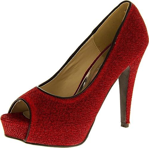 Womens High Heels Red Glitter Platform