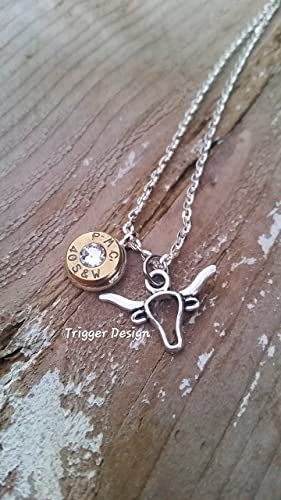 Crystal 40 Caliber Hand Crafted  Bullet Necklace with Charm