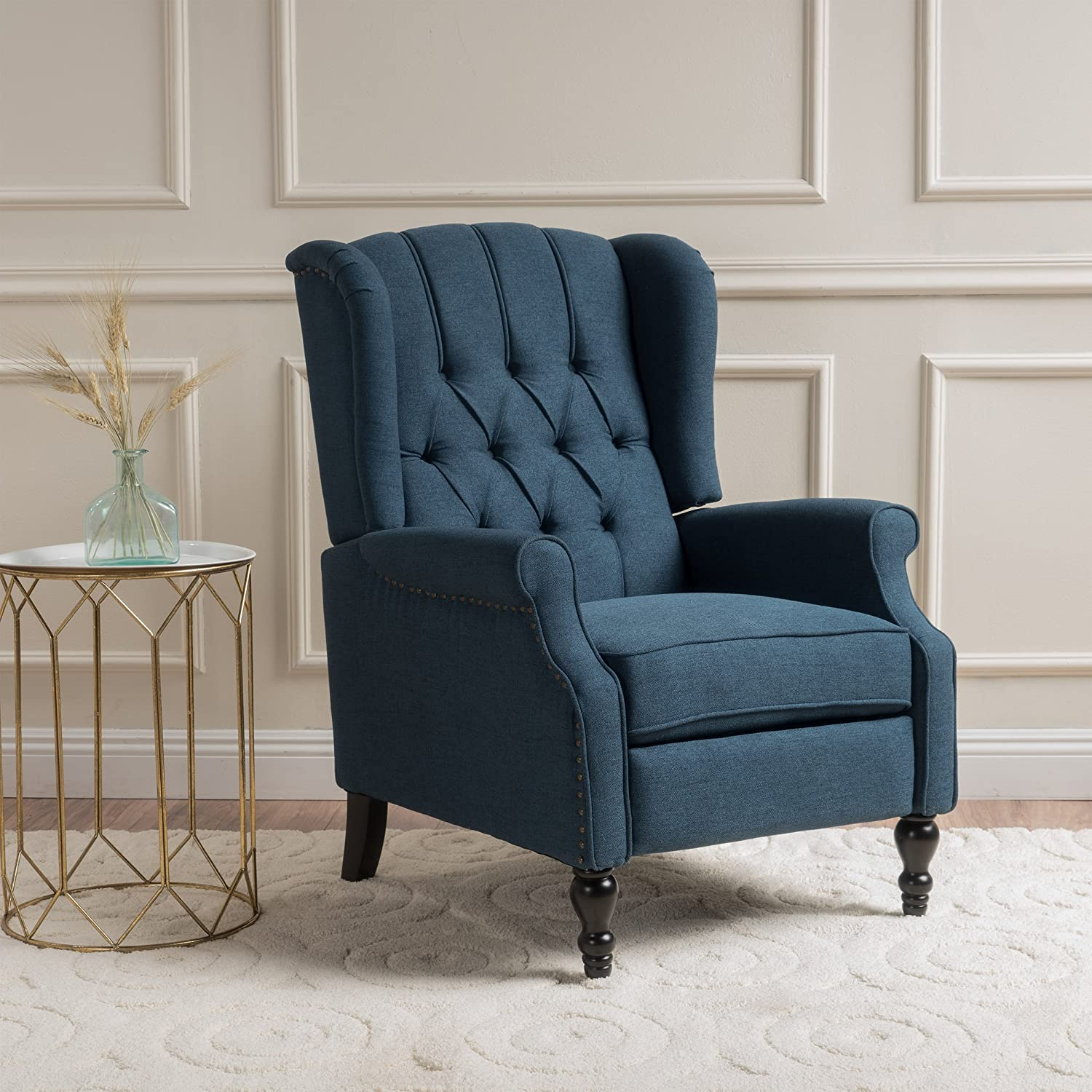 Amazon.com: GDF Studio Elizabeth | Button Tufted Fabric Recliner Arm Chair  | In Dark Blue: Kitchen U0026 Dining