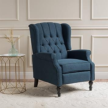Elizabeth Tufted Dark Blue Fabric Recliner Arm Chair