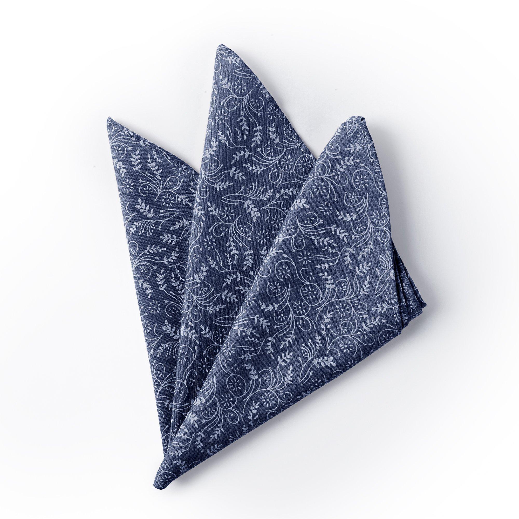 Jacob Alexander Men's Floral Pocket Square Handkerchief - Slate Blue