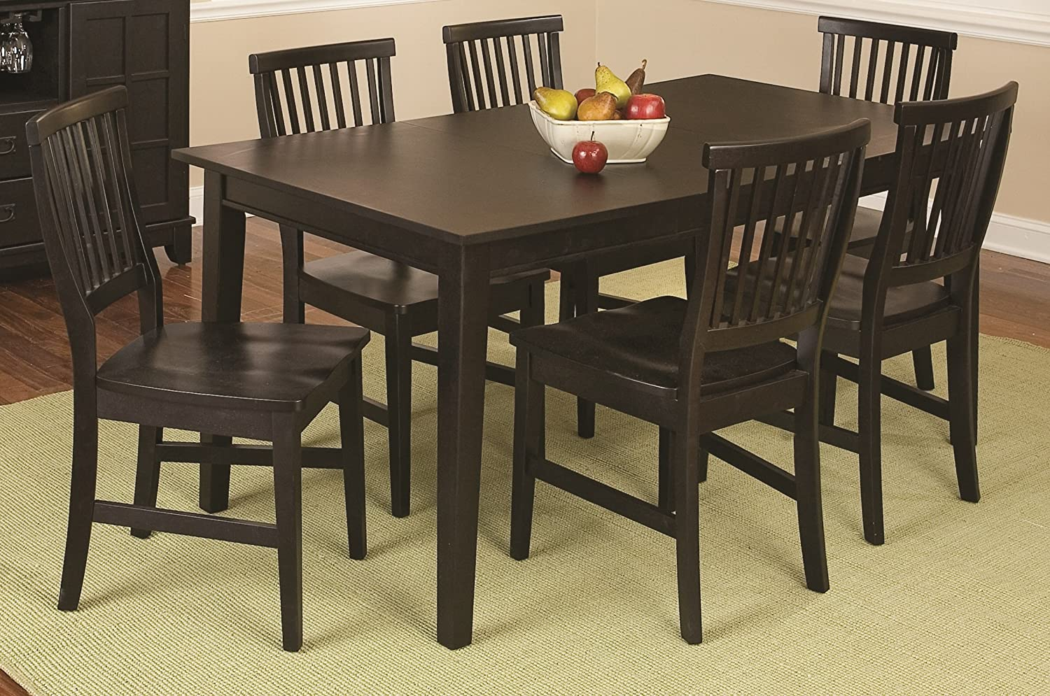 Home Styles Arts and Crafts Black Seven-piece Rectangular Dining Set with Six Chairs, Multi-step Black Finish, and Solid Hardwood Construction