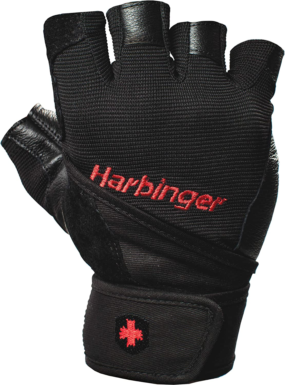 HARBINGER PRO WRISTWRAP STRENGTH POWER GLOVES XL HEAVY LIFTING 114040 BLACK PAIR