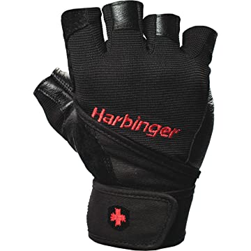 Harbinger Pro Wristwrap Weightlifting Gloves with Vented Cushioned Leather Palm