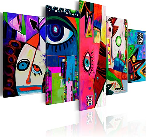 artgeist Handart Canvas Wall Art Colorful a'la Picasso 225×112 cm / 88.58″x44.3″ 5 pcs Painting Canvas Prints Picture Artwork Image Framed Contemporary Modern Photo Wall Abstract Eyes a-A-0113-b-n