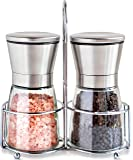 Salt and Pepper Grinder Set with Matching Stand - Salt and Pepper Shakers - Salt Grinder with Adjustable Coarseness - Brushed Stainless Steel Salt and Pepper Mill Pair
