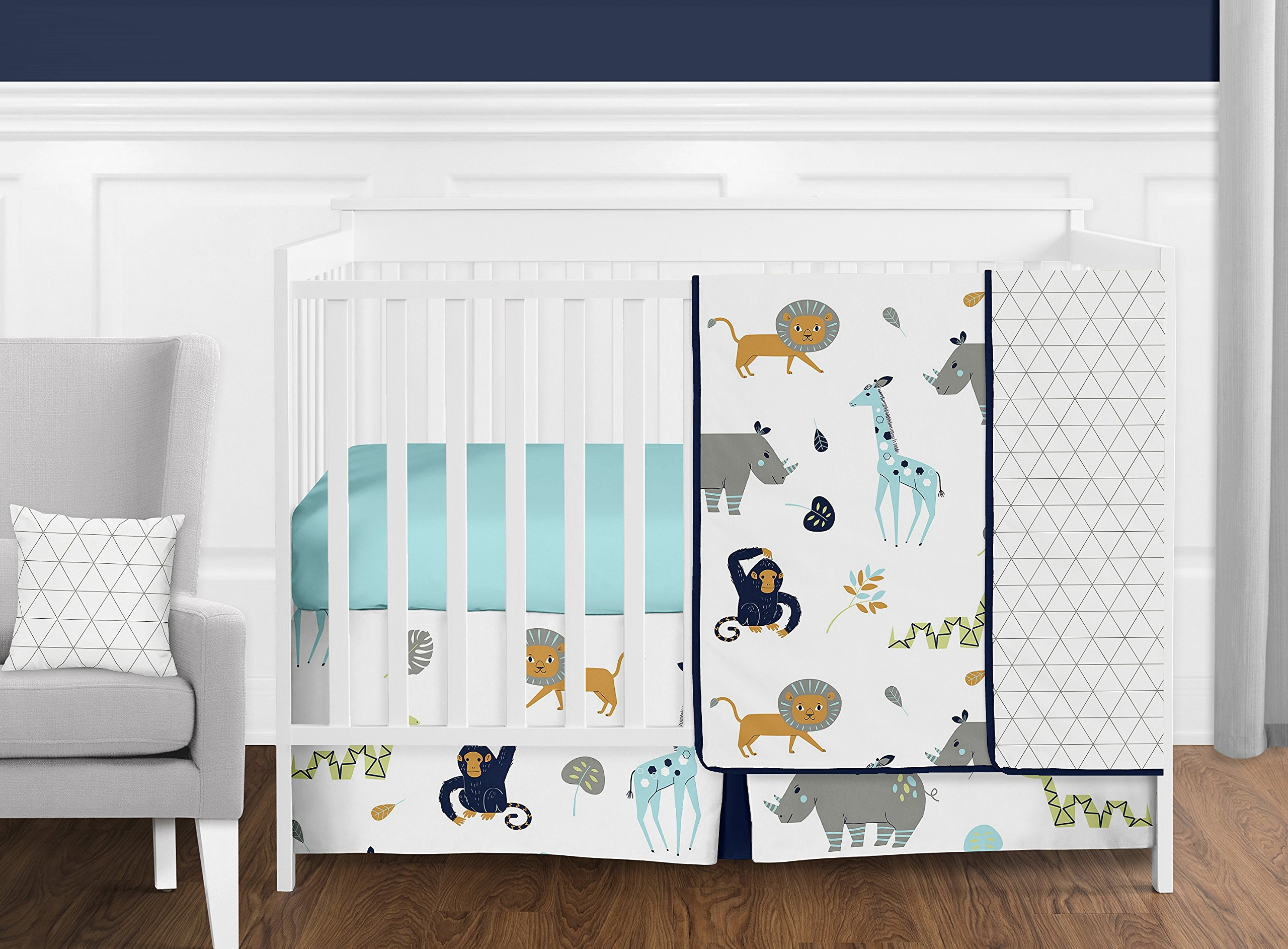 Sweet Jojo Designs 11-Piece Turquoise and Navy Blue Safari Animal Mod Jungle Baby Boy or Girl Crib Bedding Set without Bumper s