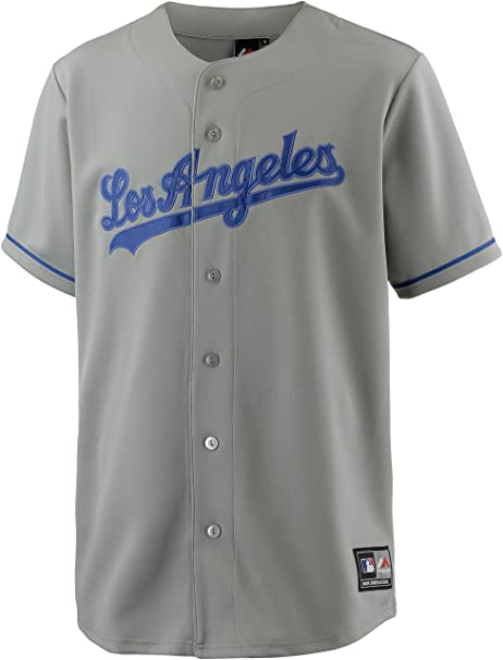 Majestic – Camiseta de Béisbol MLB Retro Los Angels Dodgers Gris Replica, Small