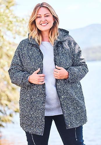 Woman Within Women's Plus Size Fleece-Lined Taslon Anorak
