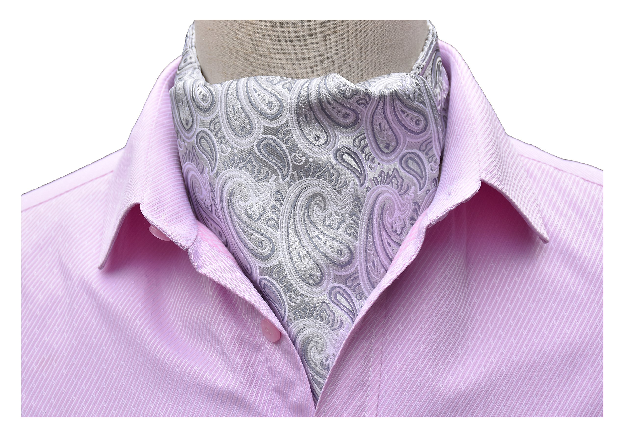 Men's Silver White Silk Patterned Spring Summer Wedding Cravat Ties Woven Ascot