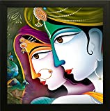 SAF UV Textured 'Radha Krishna ' Print Framed Painting Set of 1 for Home Decoration – Size 35 x 2 x 35 cm