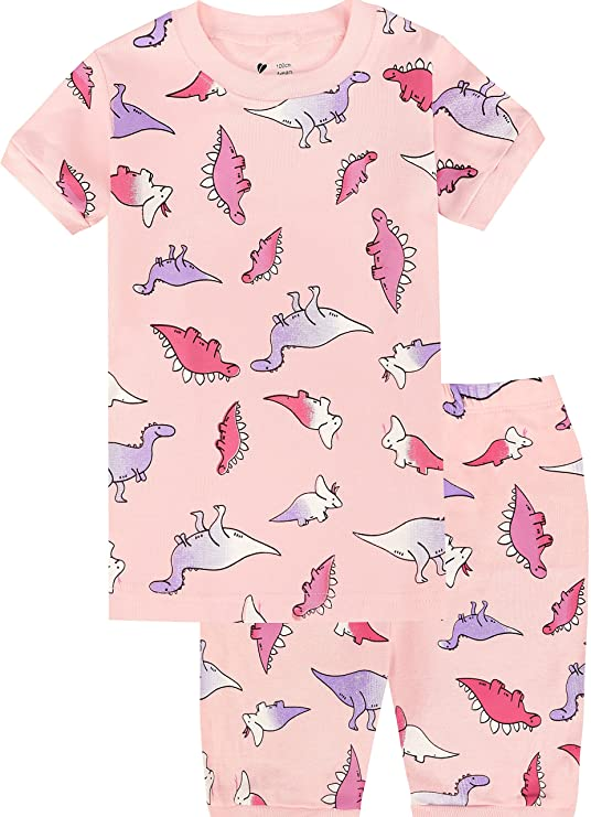 Girls Dinosaur Pajamas Shorts Pink Summer PJS Set 2 Piece Cotton Sleepwear for Kids Size 2T