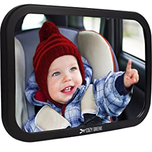 Image: Cozy Greens(r) Baby Car Mirror | Back Seat Rear-facing Infant In Sight | features shatter-proof safety surface | crash tested and certified to provide peace of mind | in the event of an accident, your little one is safe