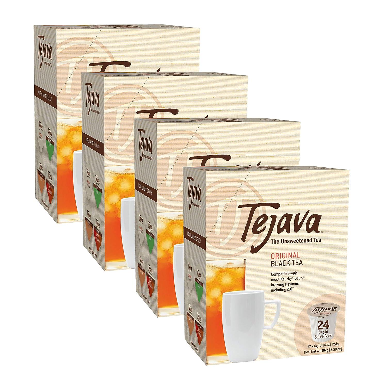 Tejava Unsweetened Original Black Tea Pods, Single Serve Cups, Keurig K-Cup Compatible, Non-GMO Verified Original, Flavor, 4 Pack - 96 Count