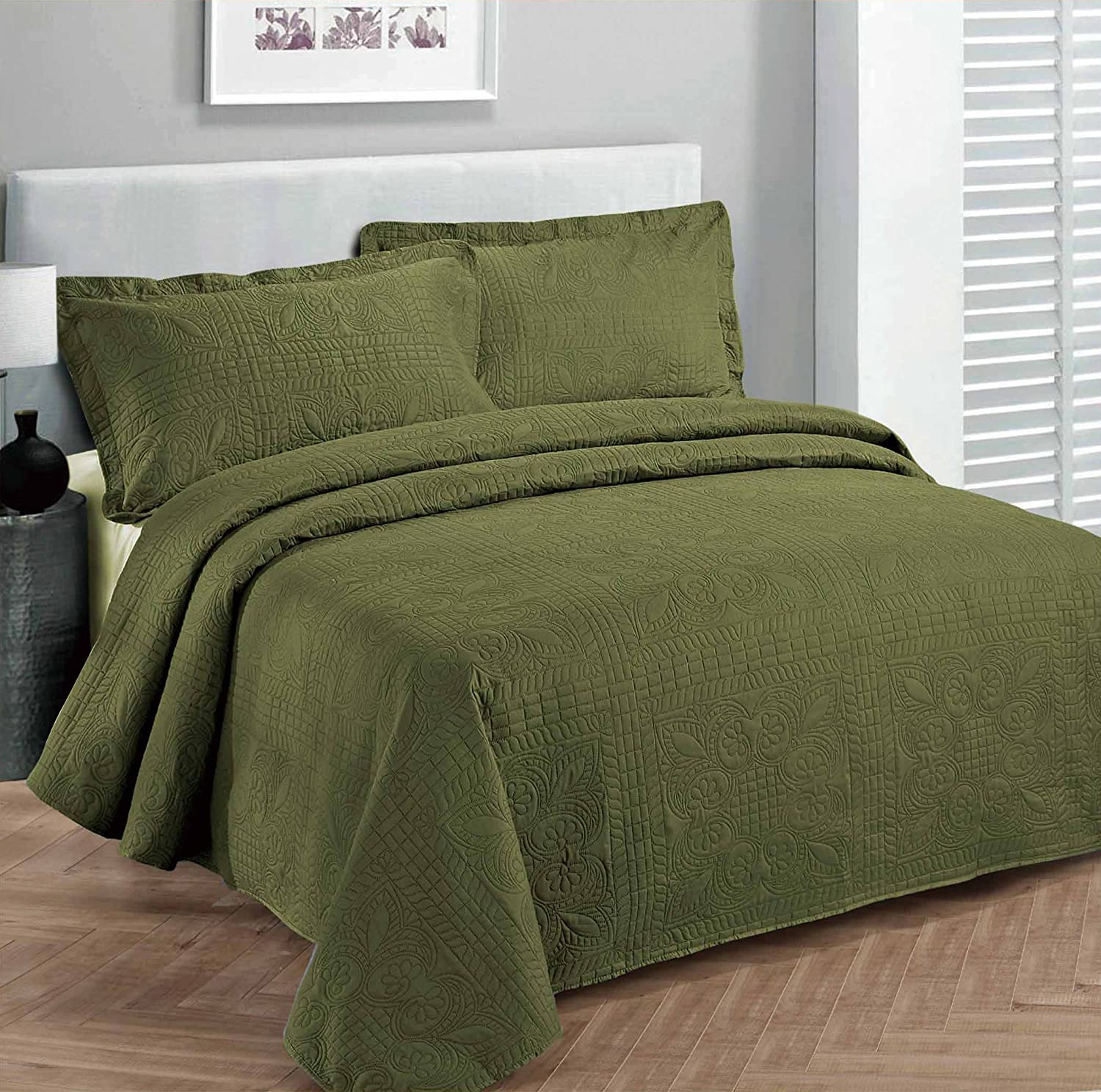 Fancy Collection 3pc Luxury Bedspread Coverlet Embossed Bed Cover Solid Olive Green