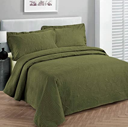 Fancy Collection 3pc Luxury Bedspread Coverlet Embossed Bed Cover Solid  Olive Green New Over Size Full