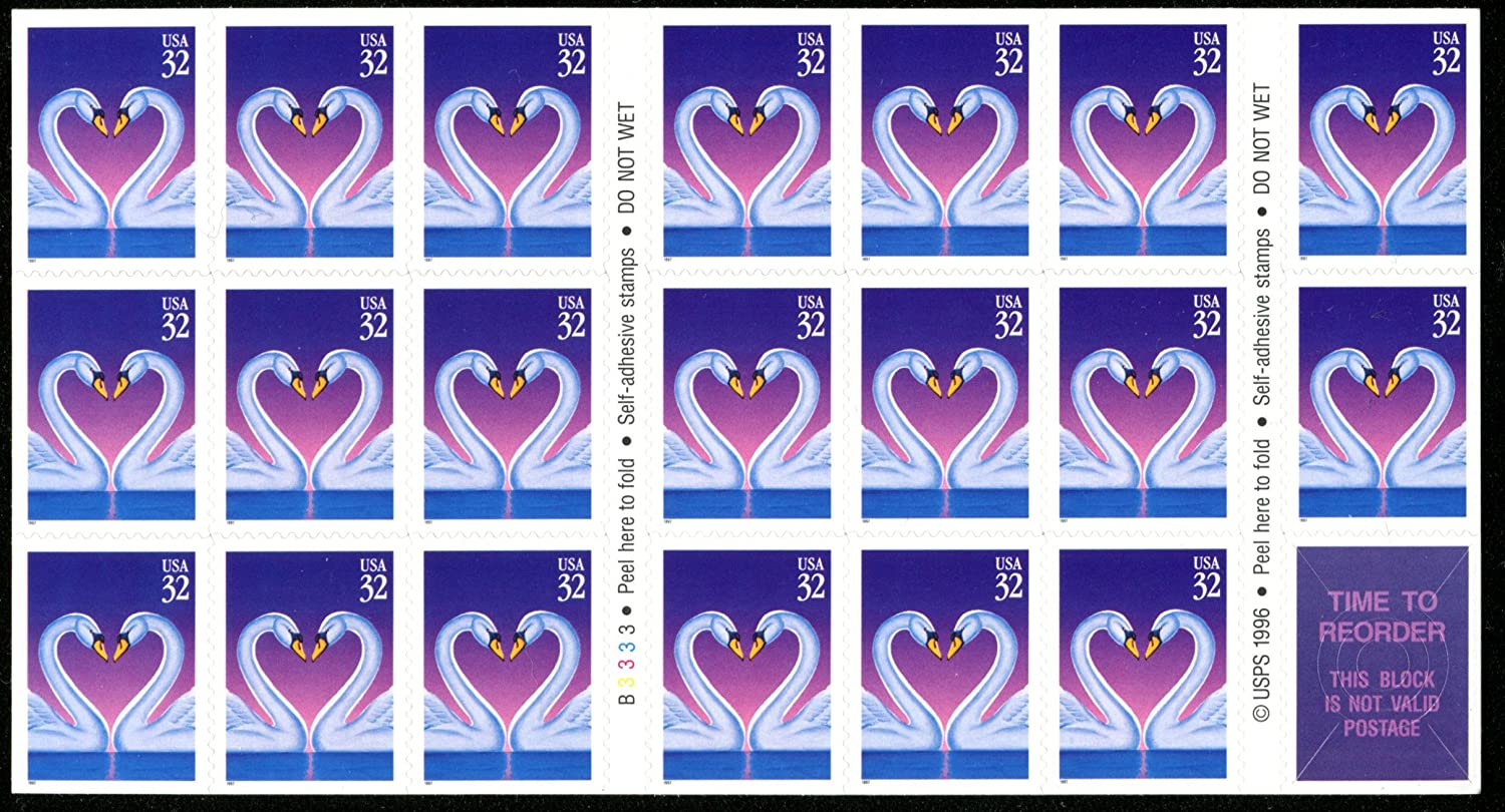 Amazon Com Heart Shaped Love Swans Wedding Invitation Stamps