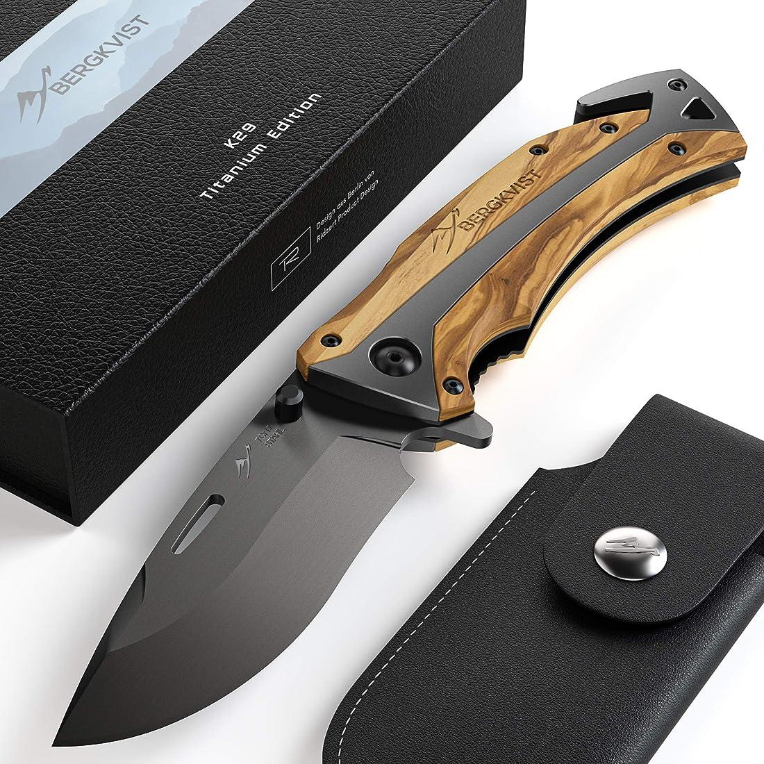 Bergkvist® coltellino tascabile k29 titanium 3 in 1 coltello pieghevole i coltello da caccia con manico in leg B07QDLWBJG