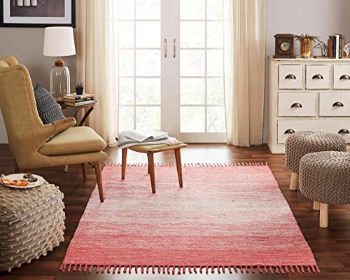 Chesapeake Cotton Ombre Coral Area Rug Large 5 x7