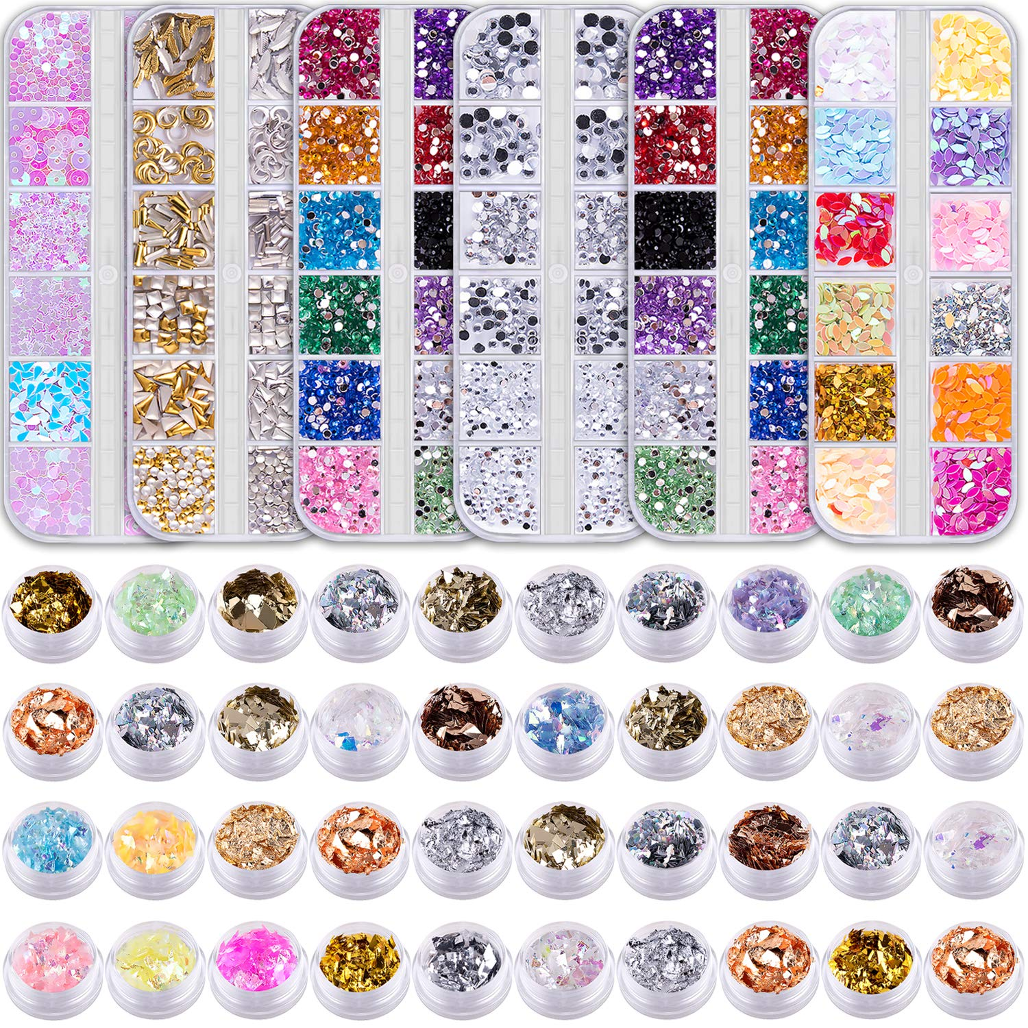 Duufin 6 Boxes Nail Rhinestones and 40 Pots Nail Foils Flakes Nail Paillette Foil Chips Nail Sequins Nail Gems Nail Studs for Nails Art by Duufin
