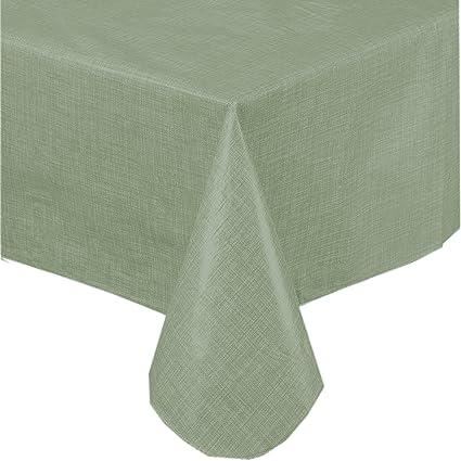 Amazon premium solid color vinyl flannel backed tablecloth 52 x premium solid color vinyl flannel backed tablecloth 52 x 70 inch oblong sage green workwithnaturefo