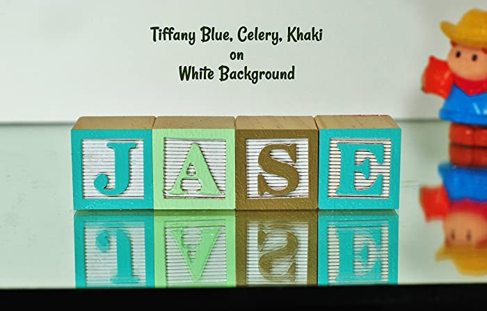 Amazon 4 letters babys name with personalized wooden 4 letters babys name with personalized wooden alphabet blocks nursery decor alphabet letters negle Images