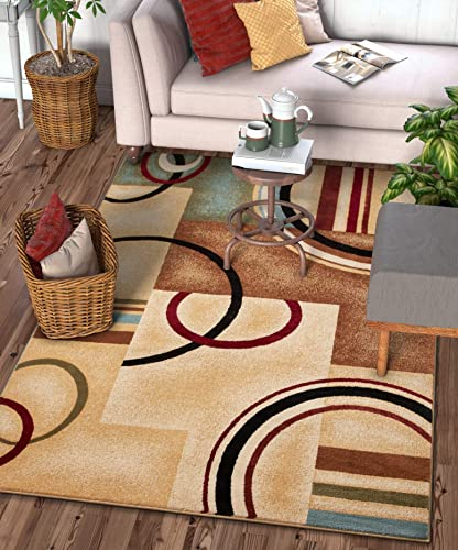 Well Woven Deco Rings Ivory Geometric Modern Casual Area Rug 9×13 9 3 x 12 6 Easy to Clean Stain Fade Resistant Shed Free Abstract Contemporary Color Block Boxes Lines Soft Living Dining Room Rug