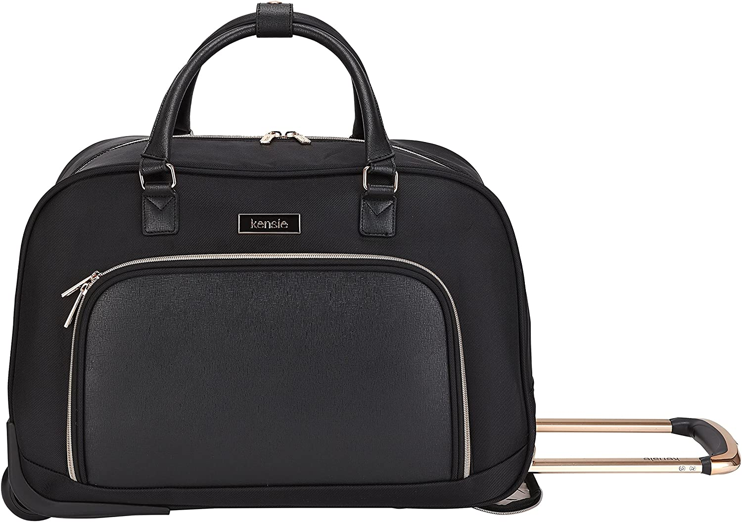 kensie 22 Black Twill Pattern with Gold Trims Rolling Duffel Travel Tote