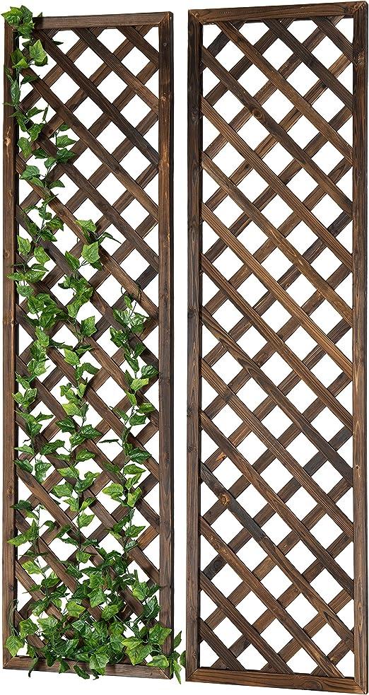 MyGift enrejado rectangular de madera para jardín, para montar en la pared: Amazon.es: Jardín