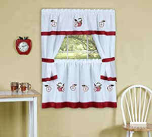 """Achim Home Furnishings, Red Gala Embellished Cottage Set with Tier Pair, 58 by 36"""""""