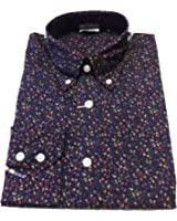 Relco Navy Floral Multi Cotton Long Sleeved Retro Mod Button Down Shirts