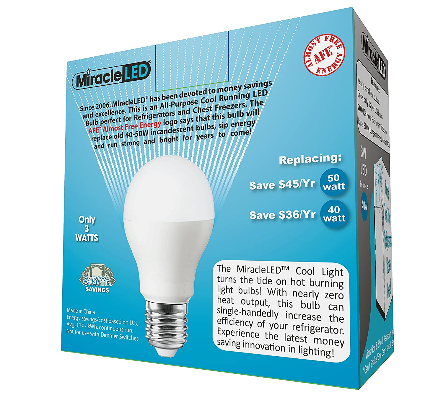 Miracle Led 604724 3 Watt Refrigerator And Freezer Light Long Life Parallel Circuit The Lightbulbs Will Not If Switch Does Energy Saver Bulb Cool White 2 Pack