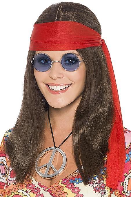 Smiffys Smiffys-21338 Kit de chica hippy, con peluca larga marrón, gafas, medallón con símbolo de la paz y rojo banda para el pelo Color, Tamaño ...
