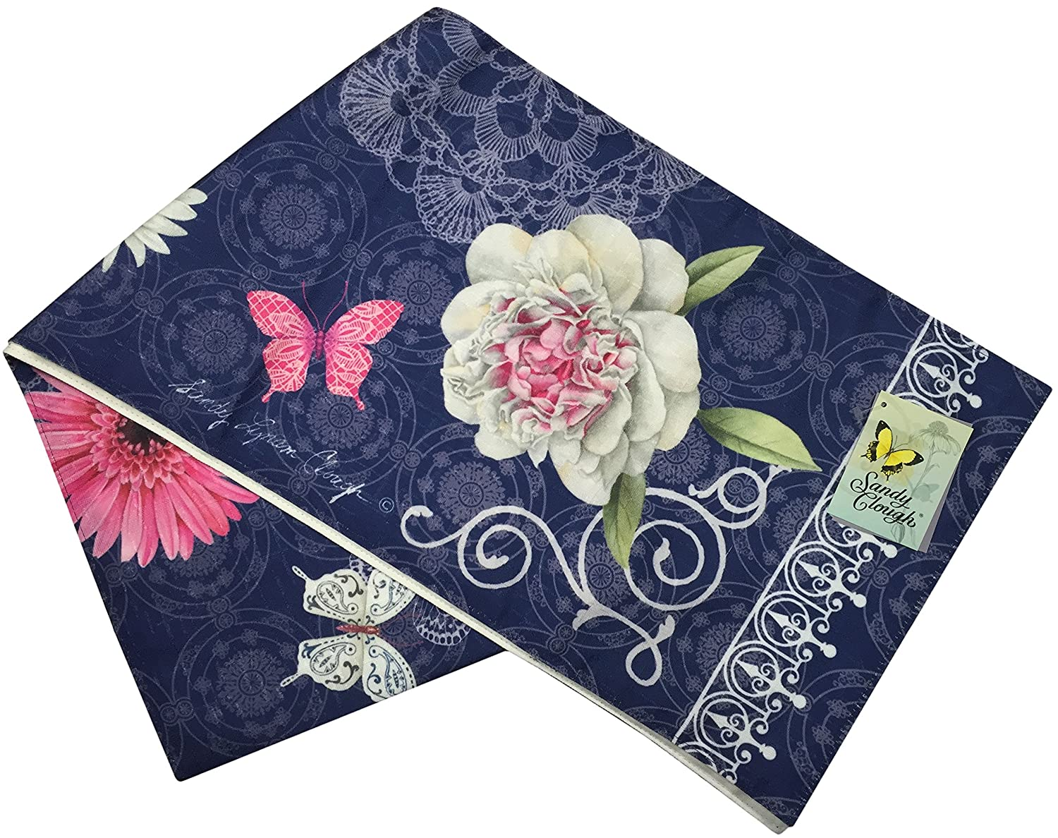 """Manual Indigo Spring Floral and Butterfly By Sandy Clough Lined Tablerunner SIDS72 13x72"""" Multi"""