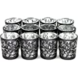 Glass Votive Candle Holders -2.6 Inches H (Set of 12, Hollow silver) - For Use with Tea lights, Parties, Weddings,Spa,Aromatherapy and Home Decor