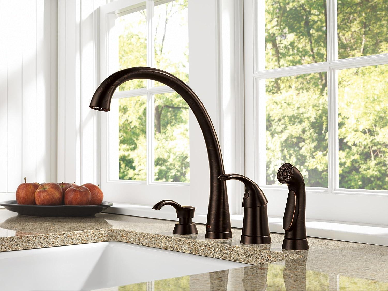 delta 4380 rb dst pilar single handle kitchen faucet with spray delta 4380 rb dst pilar single handle kitchen faucet with spray venetian bronze touch on kitchen sink faucets amazon com