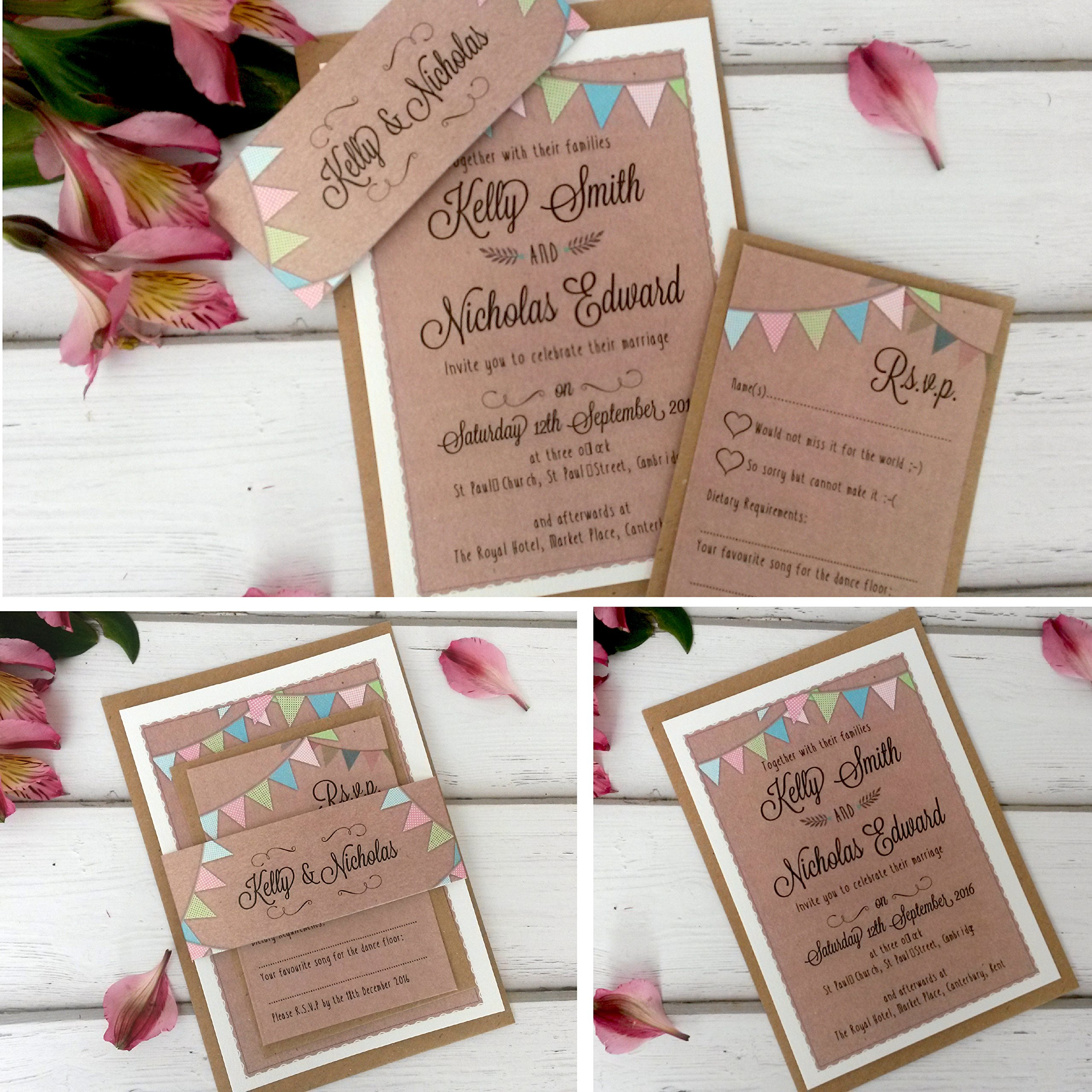 Diy wedding invitations amazon personalised wedding invitations with rsvp card sleeve envelopes handmade kraft bunting junglespirit Gallery