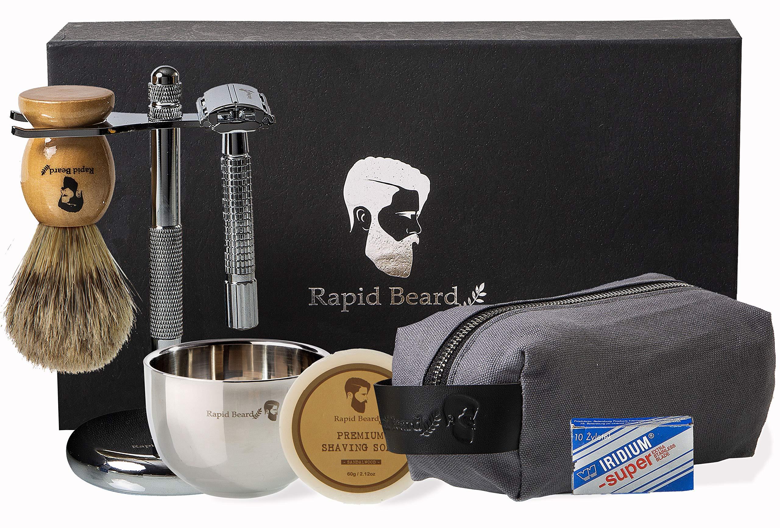 Shaving Kit for Men Wet Shave - Safety Razor with 10 blades, Shaving Badger Hair Brush, Sandalwood Shaving Soap Cream, Shaving Stand, Stainless Steel Bowl Mug, Canvas Dopp Kit - Gift Set by Rapid Beard