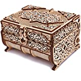 Wood Trick Treasure Box 3D Wooden Puzzle - Cute & Neat Design - with Shimmering Crystals - Store Your Jewelry - DIY Gift Box