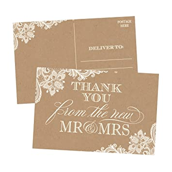 50 4x6 Rustic Kraft Thank You Postcards Bulk Cute Blank Cards From The