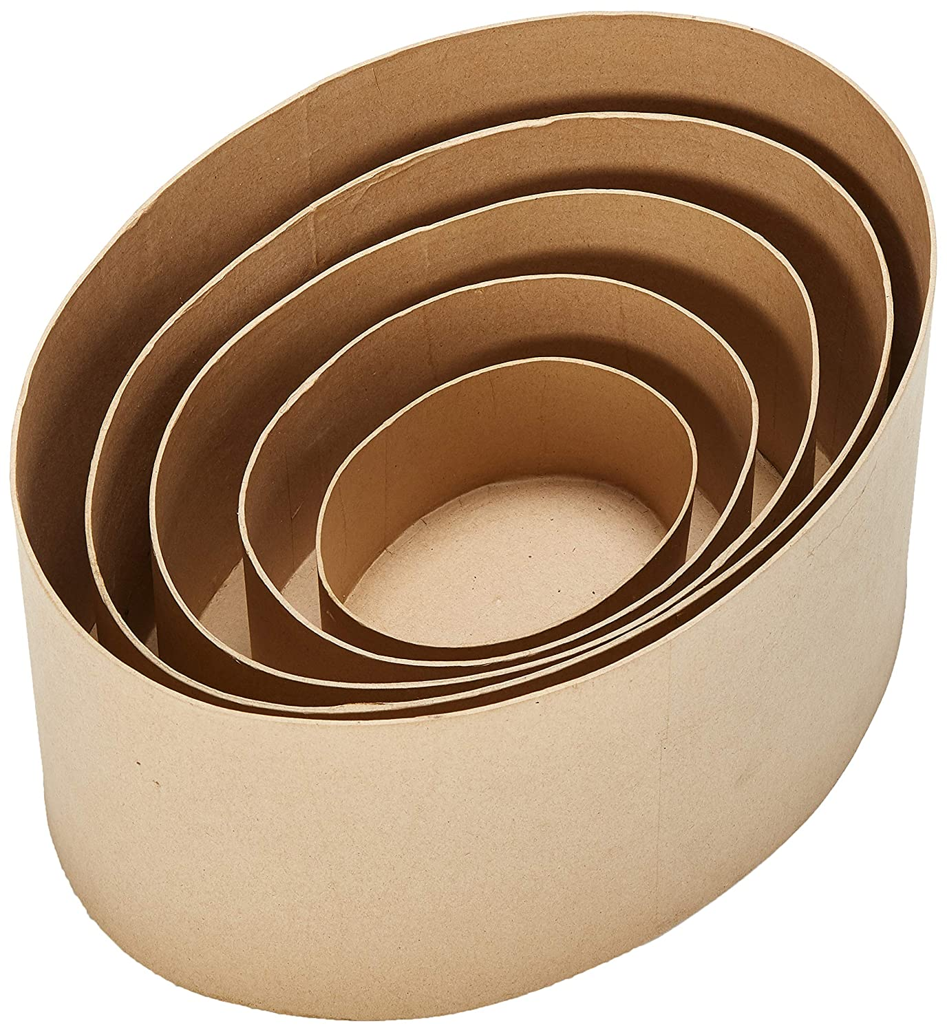 Darice 2849-12 Paper Mache Oval Box Set 5