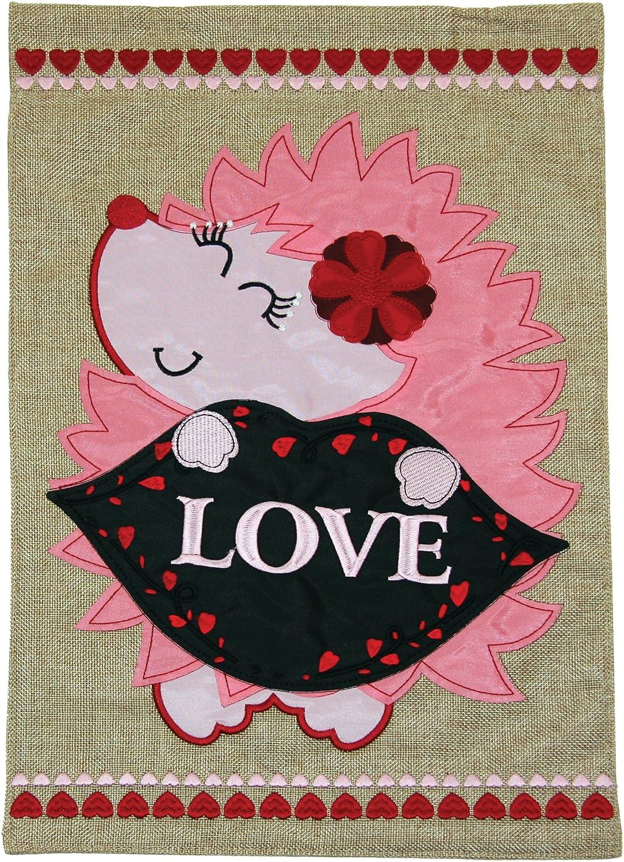 Toland Home Garden Love Hedgehog 12 x 18 Inch Decorative Cute Valentine Heart Burlap Flag