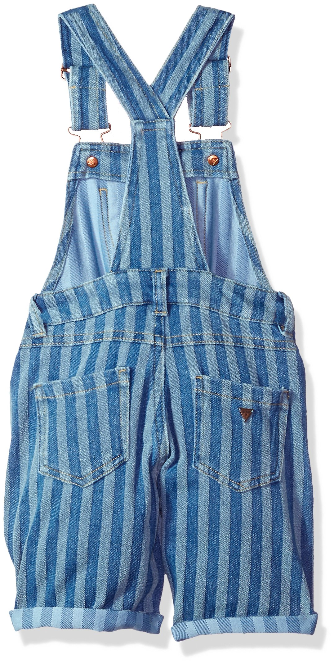 GUESS Girls' Little Denim Shortall, ENZIME Stripe WASH, 5 by GUESS (Image #2)