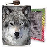 Wolf Flask 8oz Stainless Steel Hip Flasks Spirits Alcohol Whiskey Liquor Gin Vodka Wedding Flasks Wild Wolves Snow