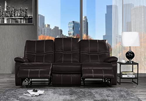 Upholstered Leather Recliner Sofa, 83 W Dark Brown