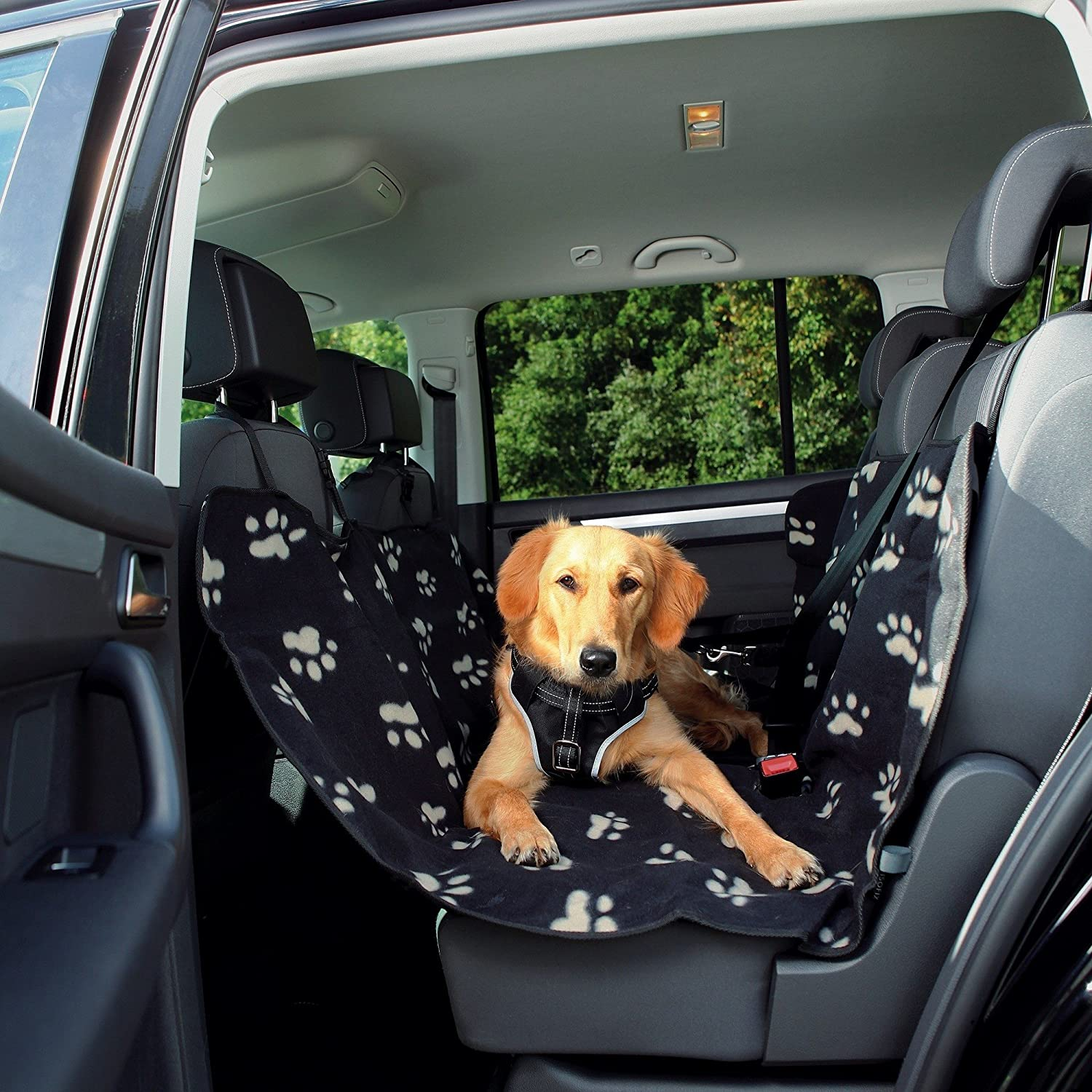 Trixie Warm And Non-Slip Car Seat Cover (4.5 × 4.75 ft) (Black Beige)