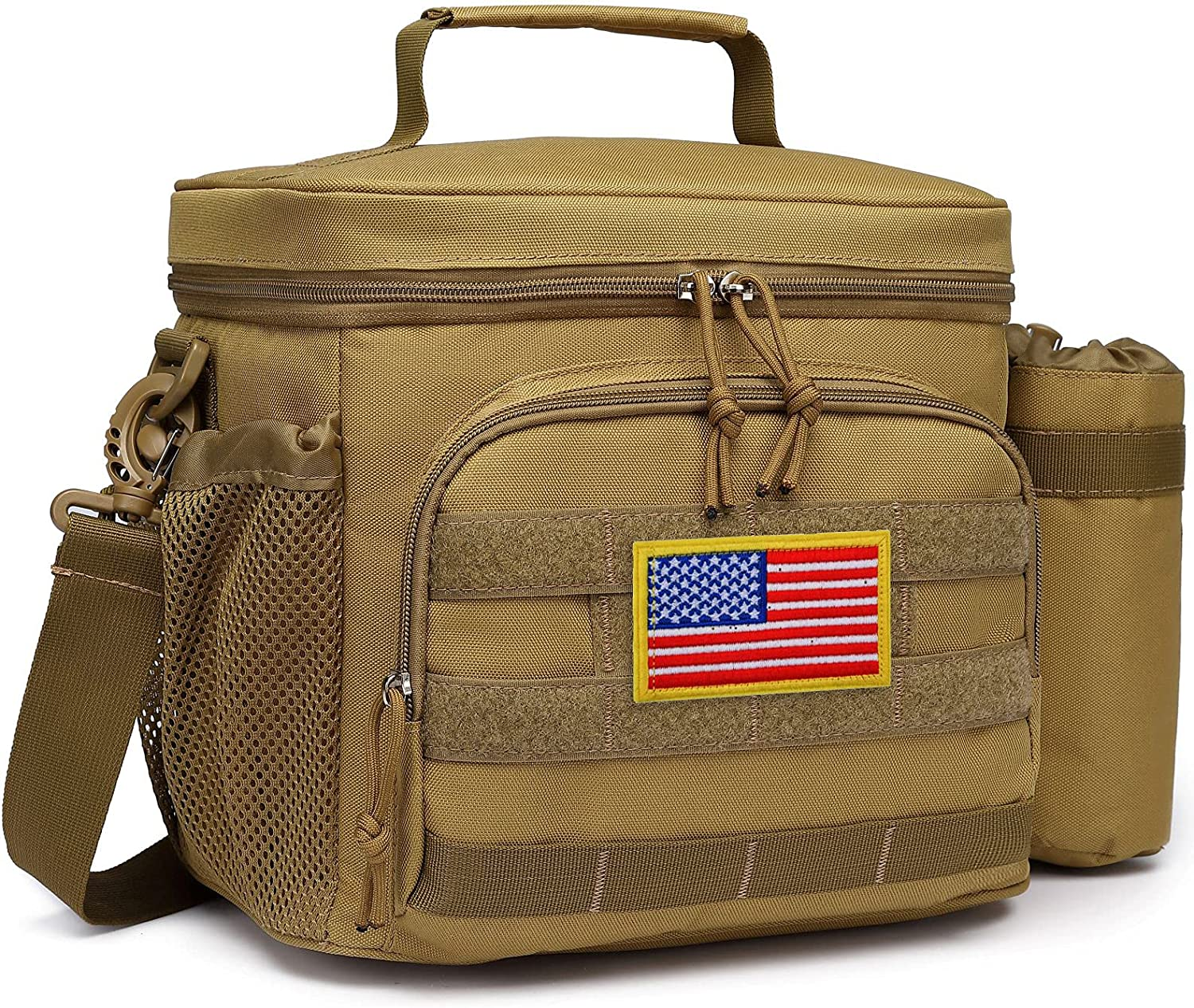 Tactical Lunch Bag, Tacticism Insulated Lunch Box for Men Adult, Leakproof Lunch Cooler Tote, with Detachable MOLLE Water Bottle Pouch and Adjustable Padded Shoulder Strap, For Work Picnic (Brown)